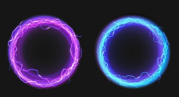 Círculos eléctricos con descarga de rayos y resplandor. vector gratuito