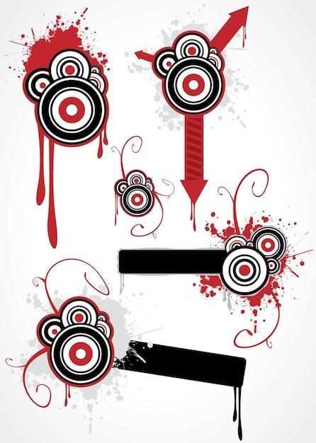 círculos grunge y flechas Vector Gratis