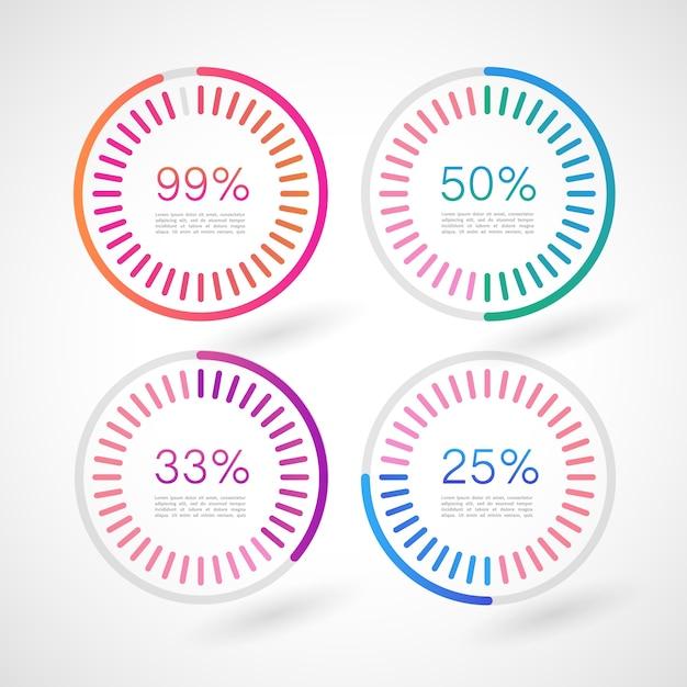 Círculos de infografía con porcentajes vector gratuito