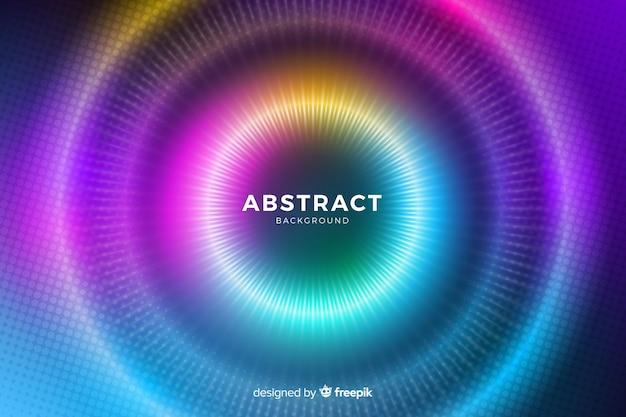 Círculos con luces de colores que se desvanecen líneas y puntos vector gratuito