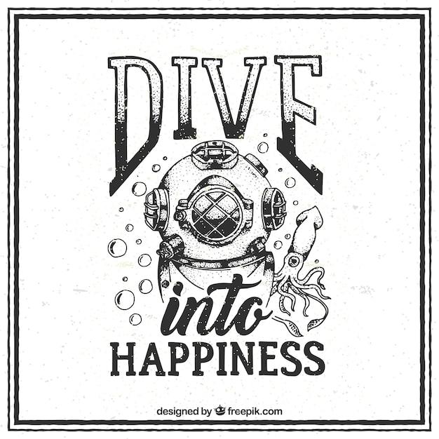 Cita de submarinismo vintage dibujada a mano Vector Gratis
