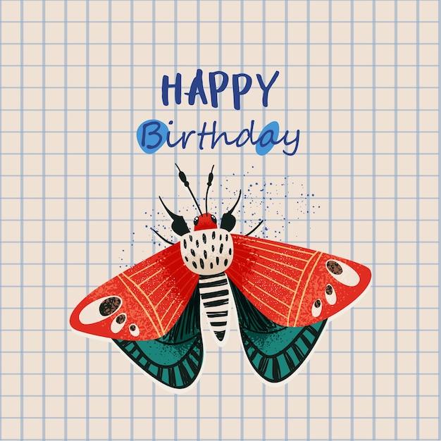 Cita de feliz cumpleaños, tarjeta de regalo con ilustración de mariposa divertida Vector Premium