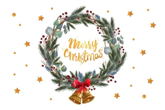 Cita de feliz navidad en una corona de hojas de pino Vector Premium