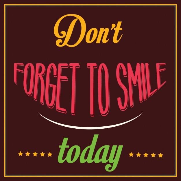 Cita inspiracional No te olvides de sonreír hoy Vector Gratis