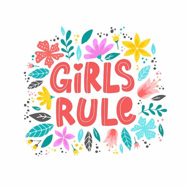 Cita inspiradora feminista 'las niñas gobiernan' Vector Premium
