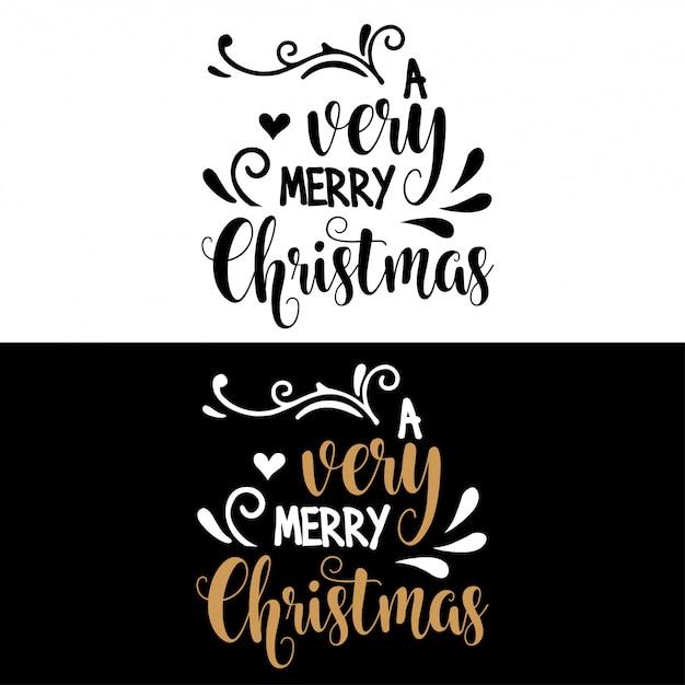 Cita de navidad de letras a mano Vector Premium