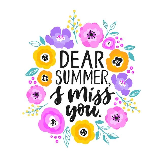 Cita de verano e ilustración de flores. Vector Premium
