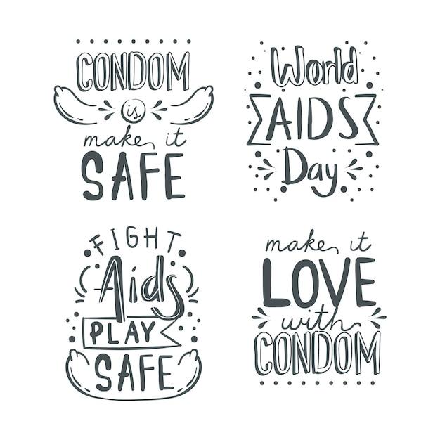 Citas de letras del día mundial del sida vector gratuito