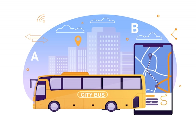 City bus con aplicación de mapas en el teléfono móvil. Vector Premium