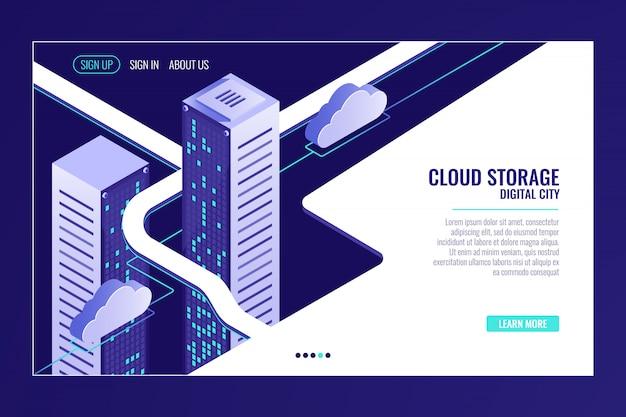 Ciudad de datos urbanos, concepto de almacenamiento en la nube, rack de sala de servidores, centro de datos, base de datos vector gratuito
