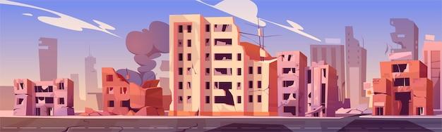 Ciudad destruida en zona de guerra vector gratuito