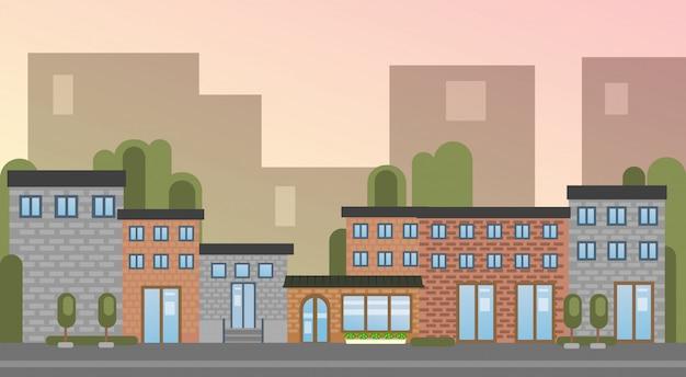 Ciudad edificio casas ciudad vista silueta horizonte fondo Vector Premium