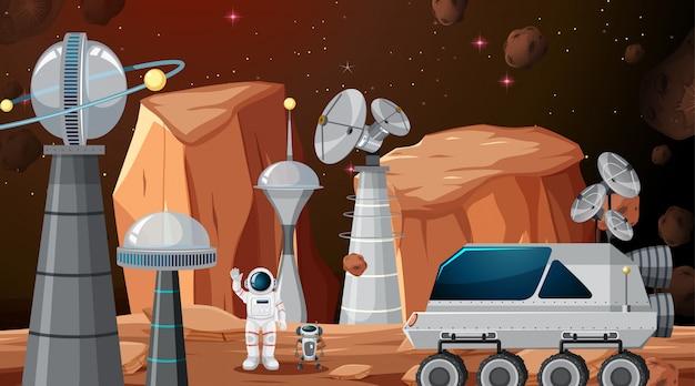 Ciudad en escena espacial o de fondo. vector gratuito