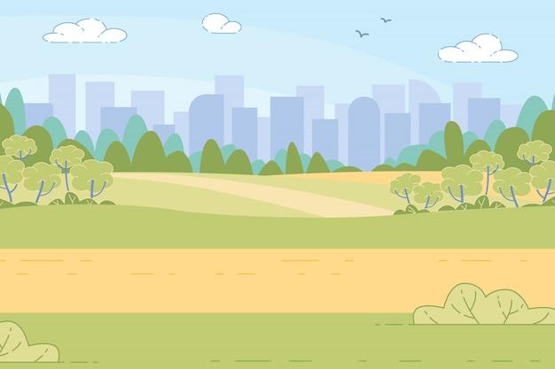 Ciudad futurista en green valley entre montañas, Vector Premium