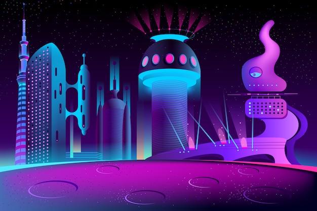 Ciudad futurista en otro planeta, megapolis vector gratuito