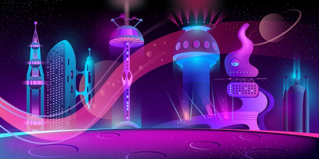 Ciudad futurista en otro planeta. vector gratuito