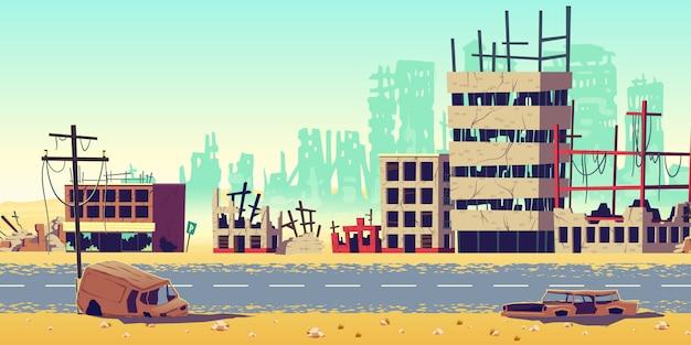 Ciudad en la ilustración de vector de dibujos animados de zona de guerra vector gratuito