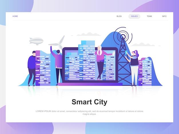 Ciudad inteligente moderno concepto de diseño plano. Vector Premium