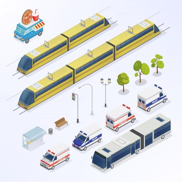 Ciudad isométrica elementos urbanos. bus isométrico tren isométrico transporte de la ciudad. Vector Premium
