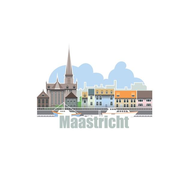 Ciudad de maastricht en holanda. paisaje de la ciudad con edificios arquitectónicos antiguos y río. Vector Premium