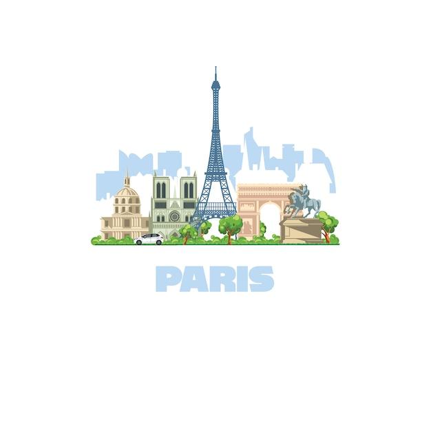 La ciudad más bella de europa, parís. más visitado por turistas en todo el mundo. Vector Premium