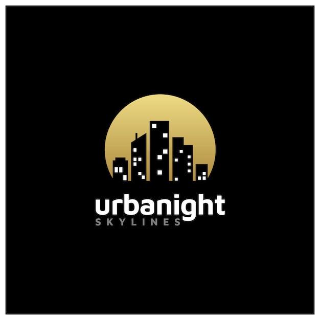 Ciudad de la noche skyline para el logotipo de bienes raíces Vector Premium