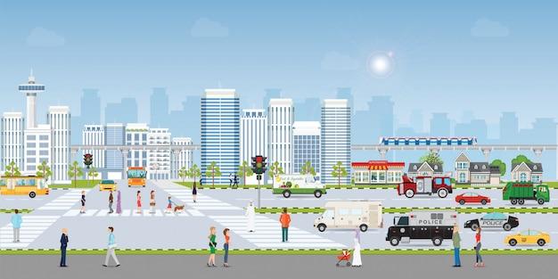 Ciudad del paisaje Vector Premium