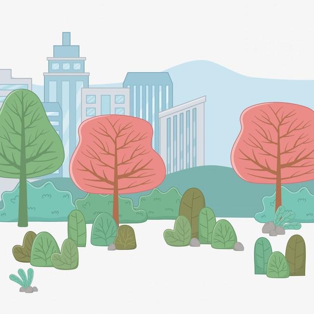 Ciudad y plantas vector gratuito