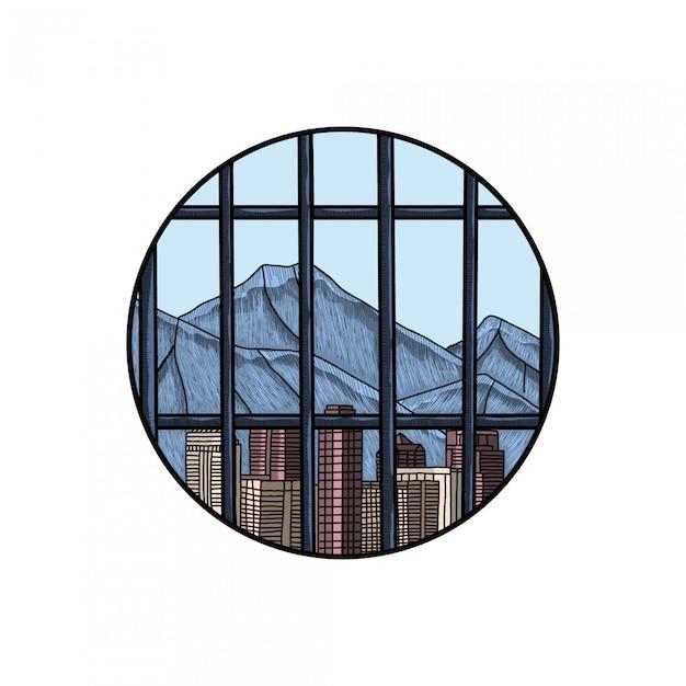 Ciudad en prisión dibujo a mano grabado Vector Premium