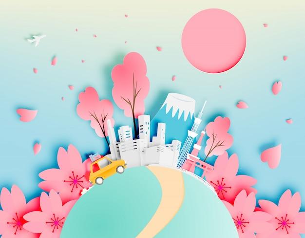 Ciudad de tokio japón en primavera con ilustración de vector de estilo de arte de papel Vector Premium