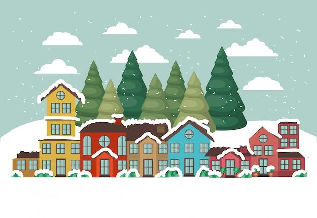 Ciudad urbana en escena de nieve vector gratuito
