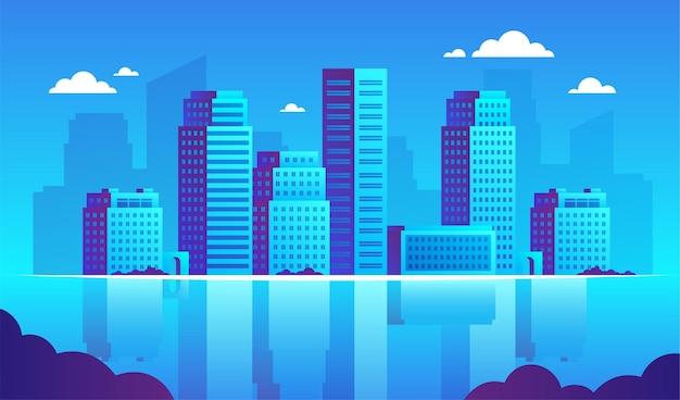 Ciudad urbana - fondo para videoconferencia vector gratuito