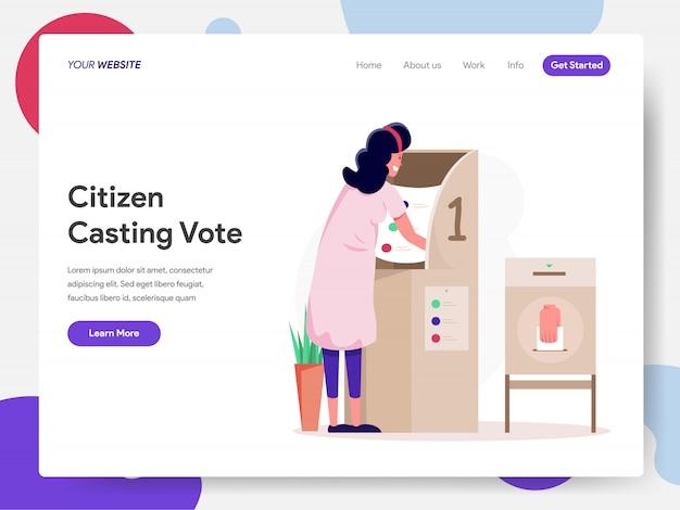Ciudadano que elige al candidato o vota Vector Premium