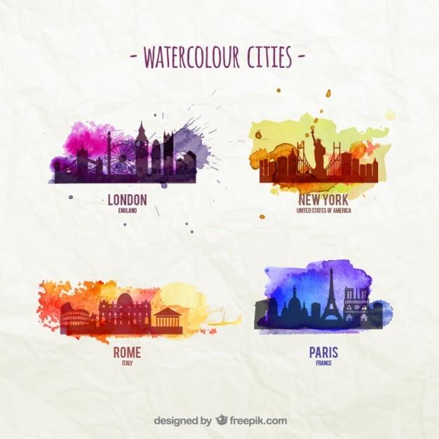 Ciudades Acuarela Vector Gratis