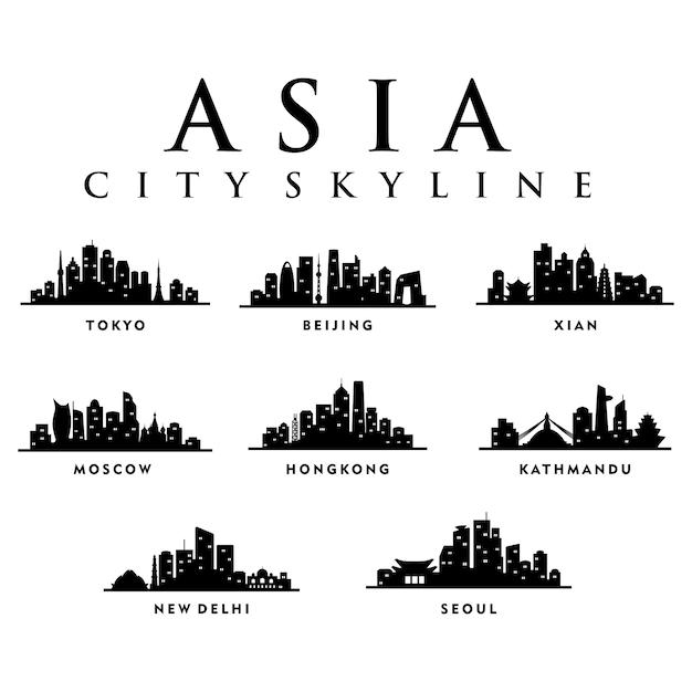 Ciudades asiáticas de asia - city tour skyline illustration Vector Premium