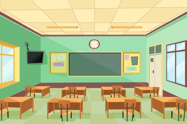 Clase de escuela vacía - fondo para videoconferencia Vector Premium