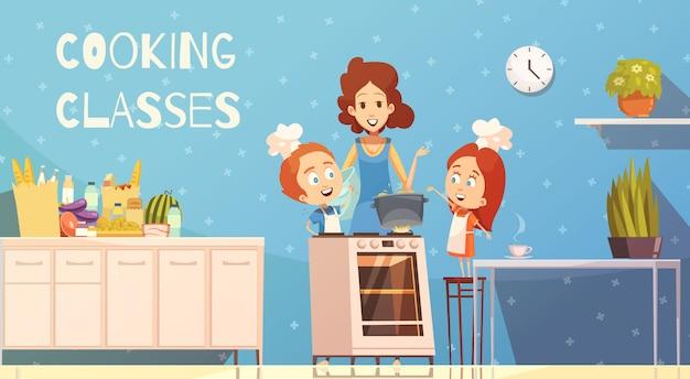 Clases de cocina para niños ilustración vectorial vector gratuito