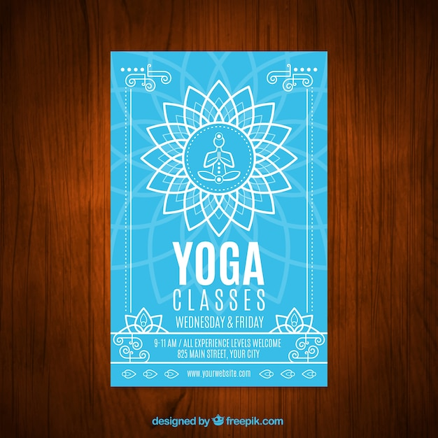 Clases de yoga color azul con un volante símbolo floral  f89916e6c5e2