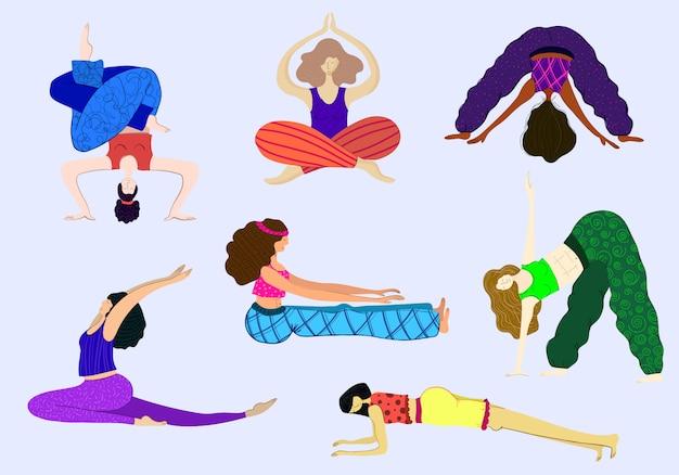 Clases de yoga, ejercicios deportivos, prácticas de yoga para chicas. Vector Premium