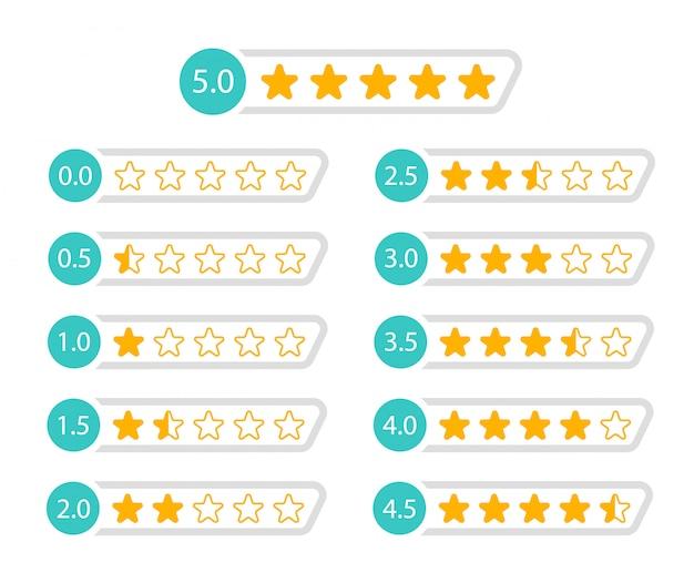 Clasificación de estrellas de 5 a 0 estrellas. revisión del cliente ilustración. Vector Premium