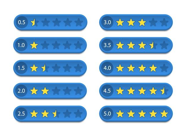 Clasificación de estrellas. comentarios y revisión del cliente. ilustración. Vector Premium