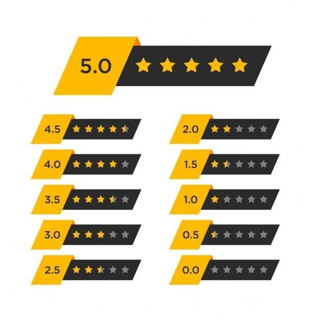 Clasificación por estrellas con números vector gratuito