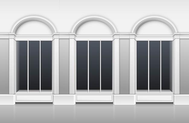 Classic shop boutique building frente de tienda con escaparate de ventanas de vidrio Vector Premium