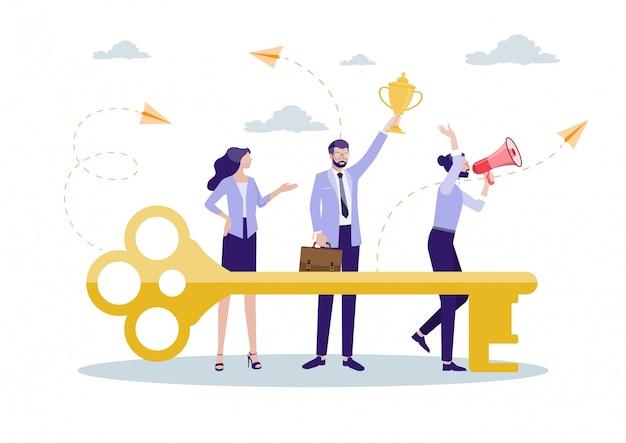 Clave para el éxito de la colaboración. Vector Premium