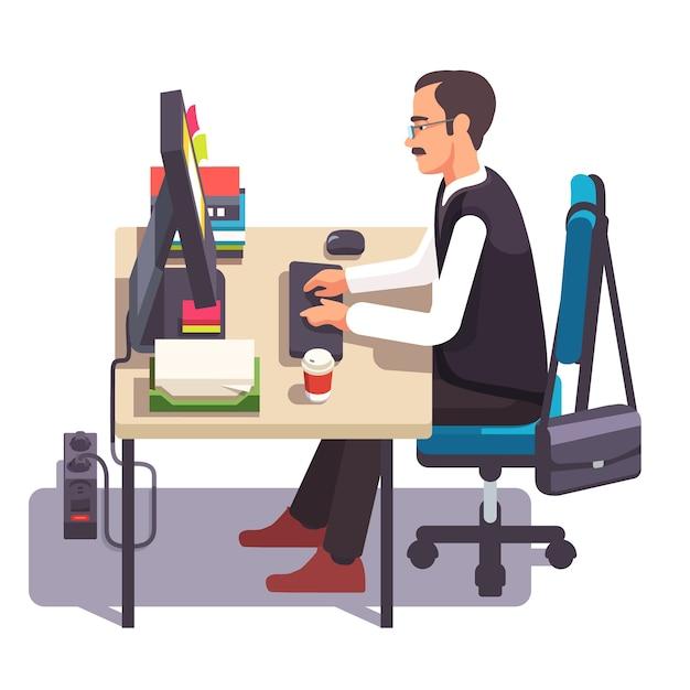 Clerk Hombre Trabajando En Una Computadora De Escritorio