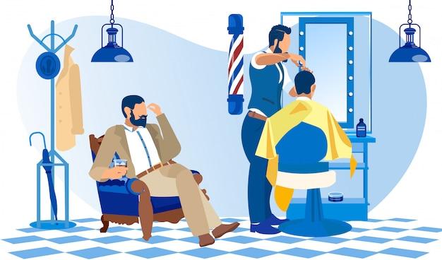 Cliente en traje esperando su turno en la barbería Vector Premium