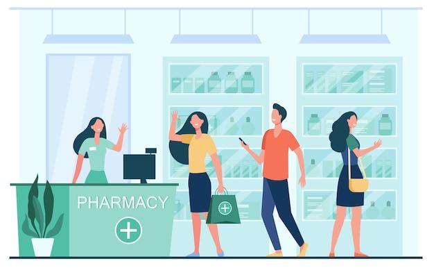 Clientes y farmacéutico en farmacia. personas que compran medicamentos en la farmacia. ilustración de vector plano para servicio, tratamiento, concepto de farmacia vector gratuito
