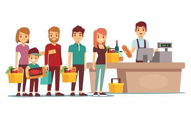 Los clientes hacen cola en el mostrador de caja con cajero en el supermercado. concepto de vector de compras Vector Premium