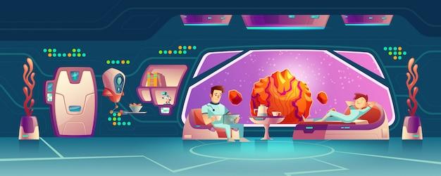 Clientes del hotel espacial descansando en vector de dibujos animados habitación vector gratuito