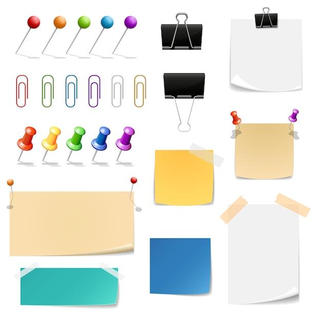 Clips de papel, carpetas, papeles para notas. oficina de recordatorio y suministros, adjuntar y sujetar vector gratuito
